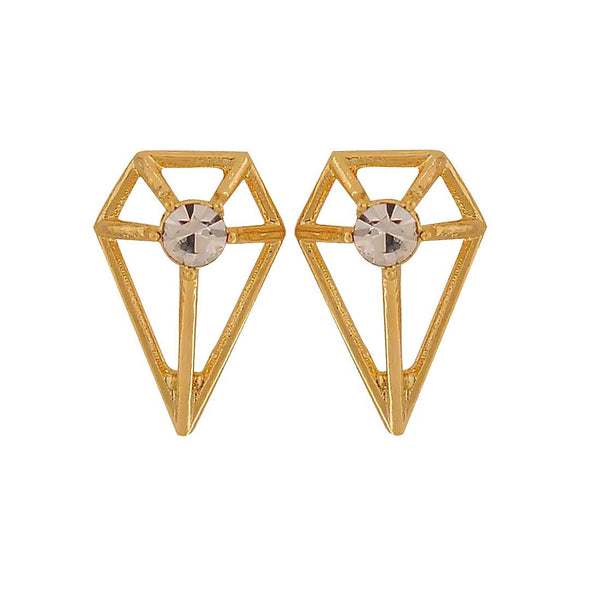Darling Gold Stone Crystals Casual Stud Earrings - MCHUJE1OT197
