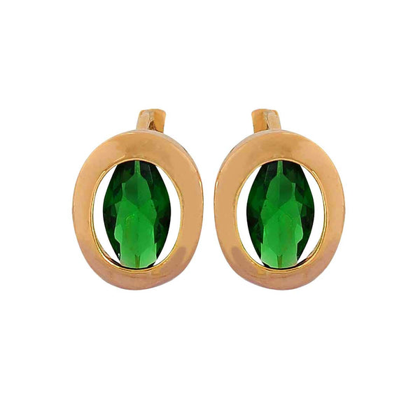 Classy Green Gold Stone Crystals Casual Huggie Earrings - MCHUJE1OT201