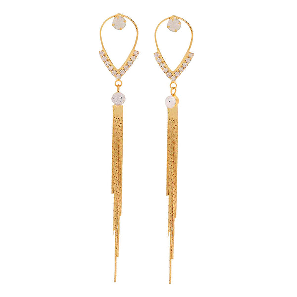 Dashing Gold Beige Designer Party Tassel Earrings - MCHUJE1OT234