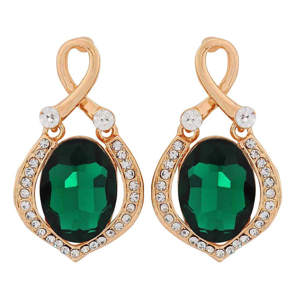 Chic Green Gold Stone Crystals Party Drop Earrings - MCHUJE1OT239