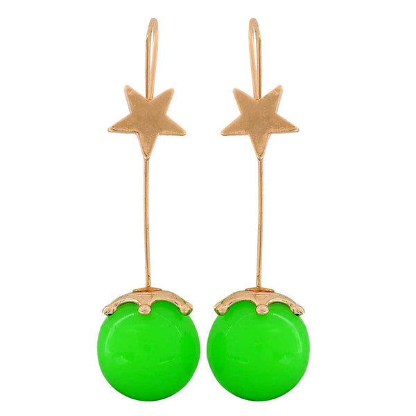 Classy Green Gold Designer Party Dangler Earrings - MCHUJE1OT254