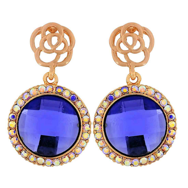Fab Blue Gold Stone Crystals Party Drop Earrings - MCHUJE1OT261
