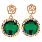 Terrific Green Gold Stone Crystals Party Drop Earrings - MCHUJE1OT258