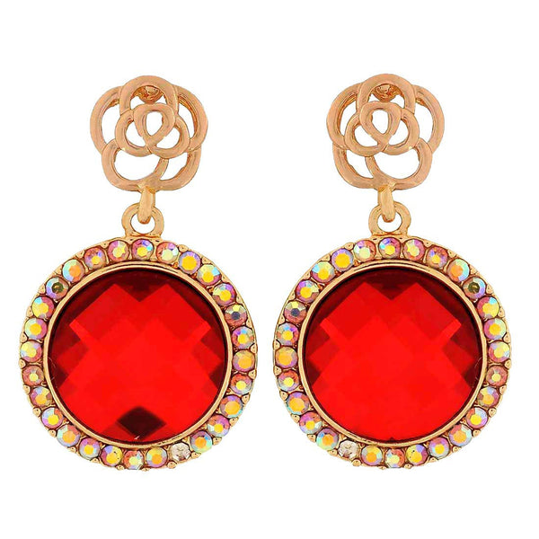 Class Red Gold Stone Crystals Party Drop Earrings - MCHUJE1OT256