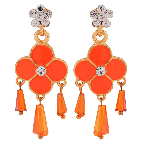 Smashing Orange Meenakari Party Drop Earrings - MCHUJE1OT262