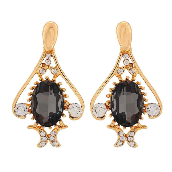 Stylish Black Gold Stone Crystals Party Drop Earrings - MCHUJE1OT271