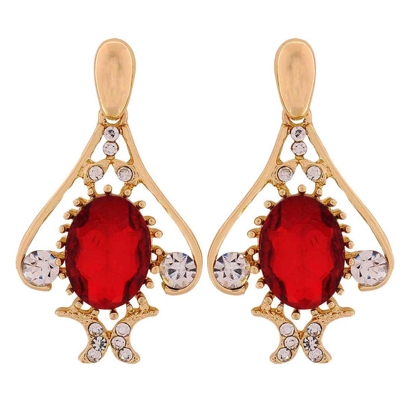 Sparkling Maroon Gold Stone Crystals Party Drop Earrings - MCHUJE1OT270