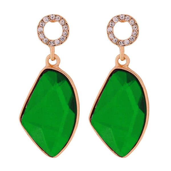 Exclusive Green Stone Crystals Party Drop Earrings - MCHUJE1OT272