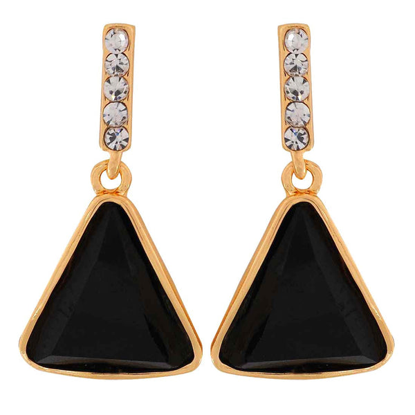 Graceful Black Stone Crystals Party Drop Earrings - MCHUJE1OT274
