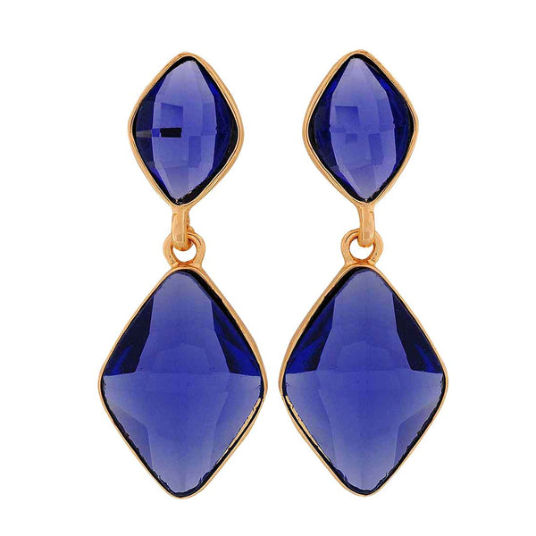 Trendy Blue Stone Crystals Party Drop Earrings - MCHUJE1OT281
