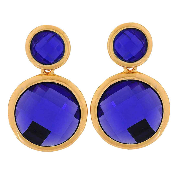 Posh Blue Stone Crystals Party Drop Earrings - MCHUJE1OT282