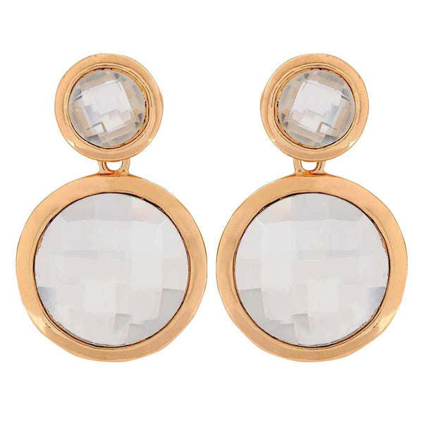 Bright White Stone Crystals Party Drop Earrings - MCHUJE1OT283