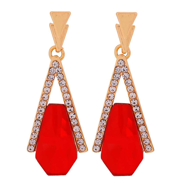 Plush Red Gold Stone Crystals Party Drop Earrings - MCHUJE1OT293