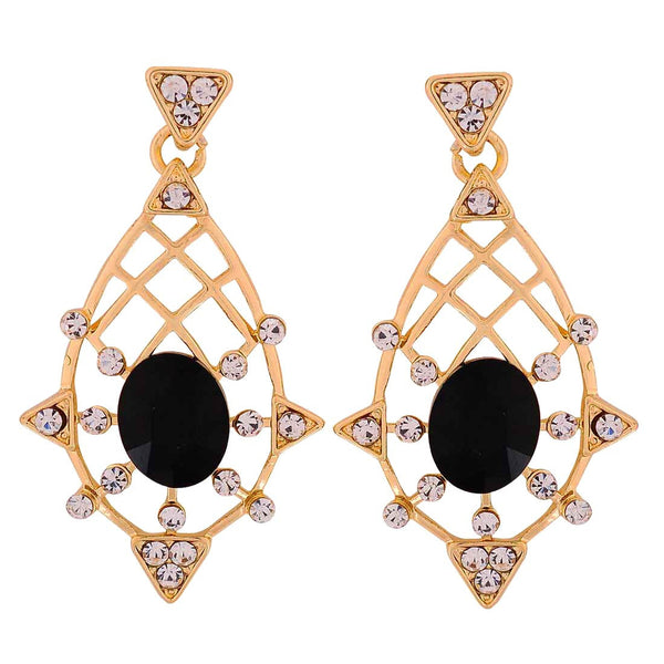 Modern Black White Stone Crystals Party Drop Earrings - MCHUJE1OT294
