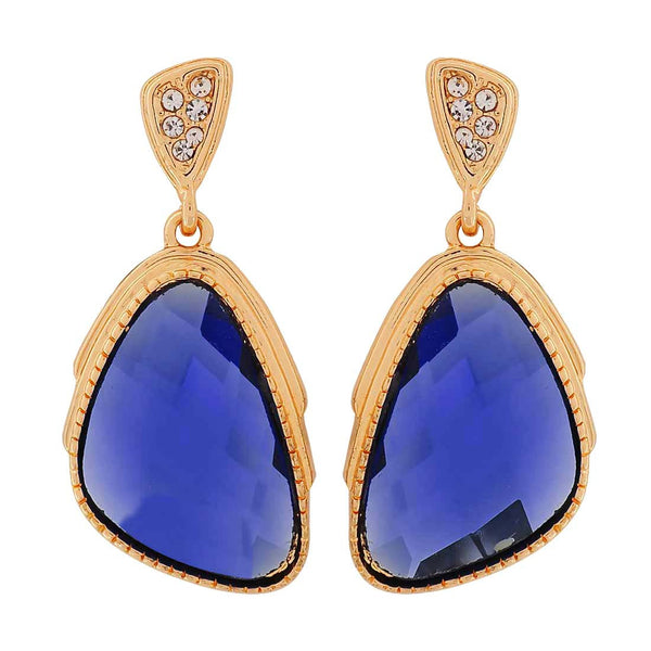 Special Blue Gold Stone Crystals Party Drop Earrings - MCHUJE1OT295