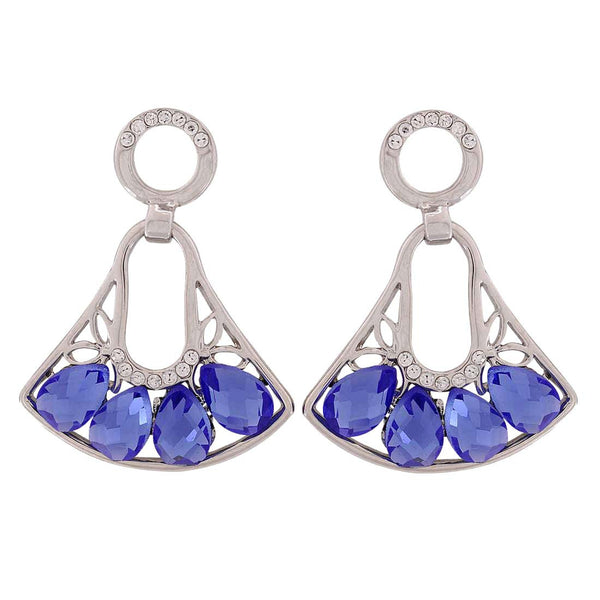 Awesome Blue Silver Stone Crystals Party Drop Earrings - MCHUJE1OT297