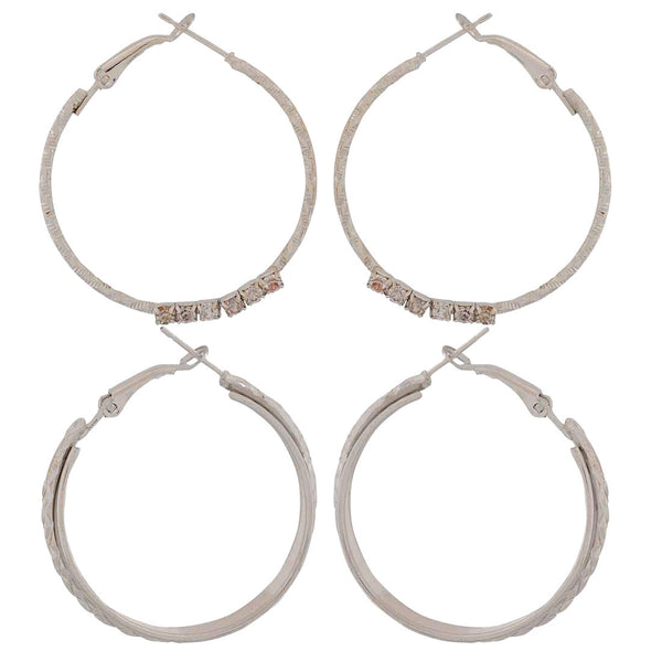 Sober Silver Designer Party Hoop Earrings - MCHUJE1OT300