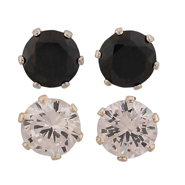 Unique Black White Stone Crystals Casual Stud Earrings - MCHUJE1OT310