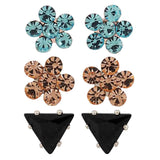 Fab Multicolour Stone Crystals Casual Stud Earrings - MCHUJE1OT314