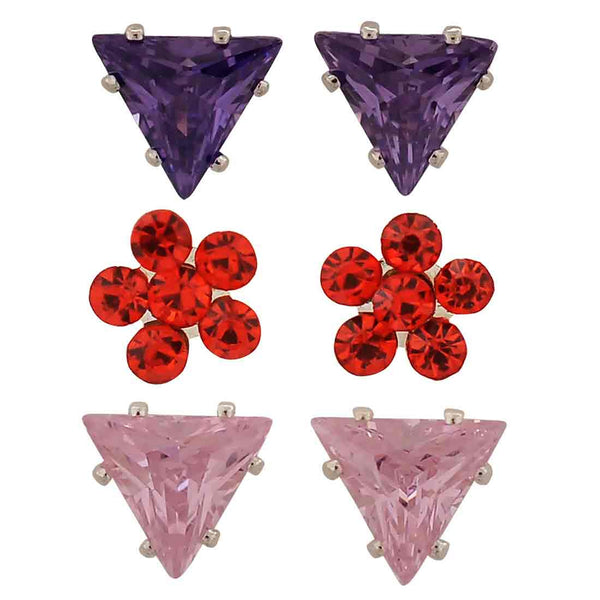 Sizzling Multicolour Stone Crystals Casual Stud Earrings - MCHUJE1OT316