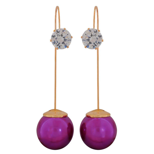 Graceful Purple White Stone Crystals Party Dangler Earrings - MCHUJE1OT327