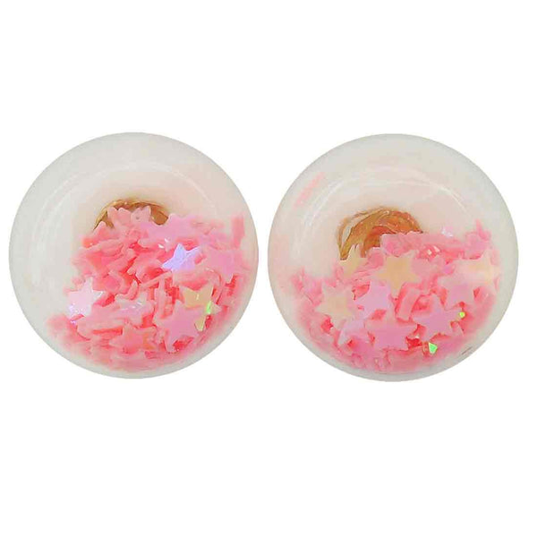 Artistic Pink Designer Party Glass Stud Earring - MCHUJE1OT329