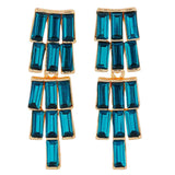 Bright Blue Gold Stone Crystals Party Drop Earrings - MCHUJE1OT336