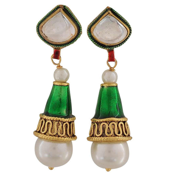 Stylish Green Meenakari Party Drop Earrings - MCHUJE26FB6