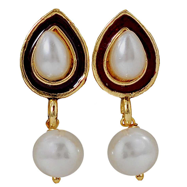 Beautiful Brown White Pearl Drop Earrings - MCHUJE6AG82