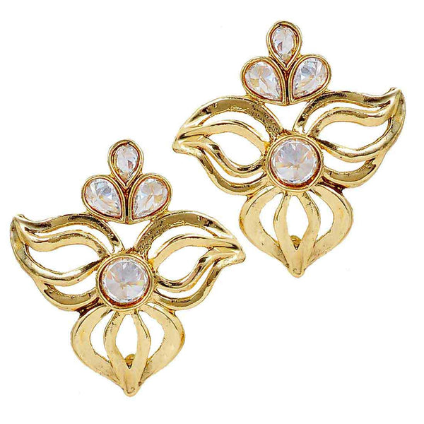 Suave Gold Stone Work Stud Earrings - MCHUJE6AG84