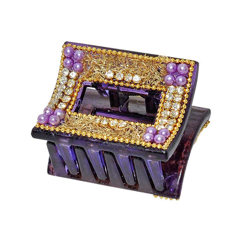 Cool Purple Gold Designer Hair Clutcher - MCHUHC6AG125