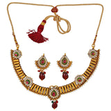 Awesome Maroon Green Indian Ethnic Choker Set with Earrings - MCHUJN6AG194