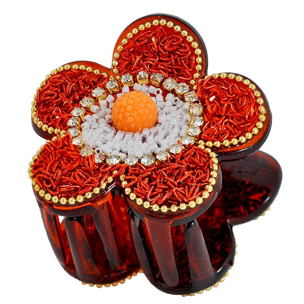 Adorable Orange Brown Designer Hair Clutcher - MCHUHC6AG294
