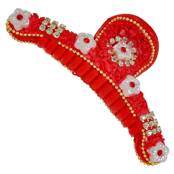 Stylish Red White Designer Hair Clutcher - MCHUHC6AG323