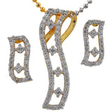 Fantastic Gold American Diamond Pendant Set with Earrings - MCHUJP6AG355