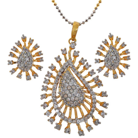 Fabulous Gold American Diamond Pendant Set with Earrings - MCHUJP6AG357