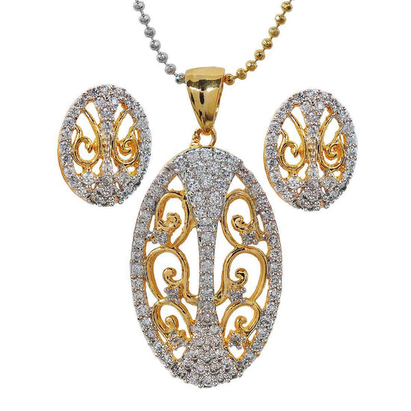 Fab Gold American Diamond Pendant Set with Earrings - MCHUJP6AG358