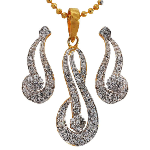 Smart Gold American Diamond Pendant Set with Earrings - MCHUJP6AG369