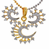 Pretty Gold American Diamond Pendant Set with Earrings - MCHUJP17JL1