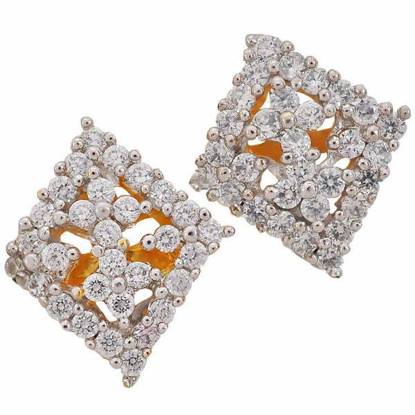 Exquisite Gold American Diamond Stud Earrings - MCHUJE17JL71