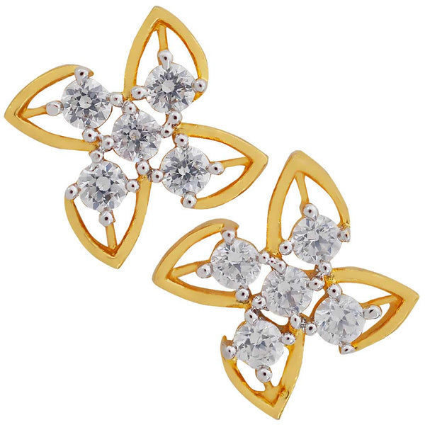 Posh Gold American Diamond Stud Earrings - MCHUJE17JL73