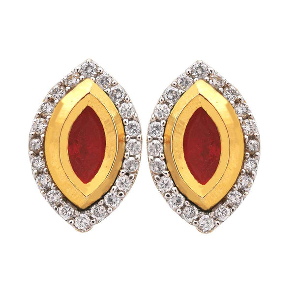 Superb Red Pink American Diamond Stud Earrings - MCHUJE17JL124