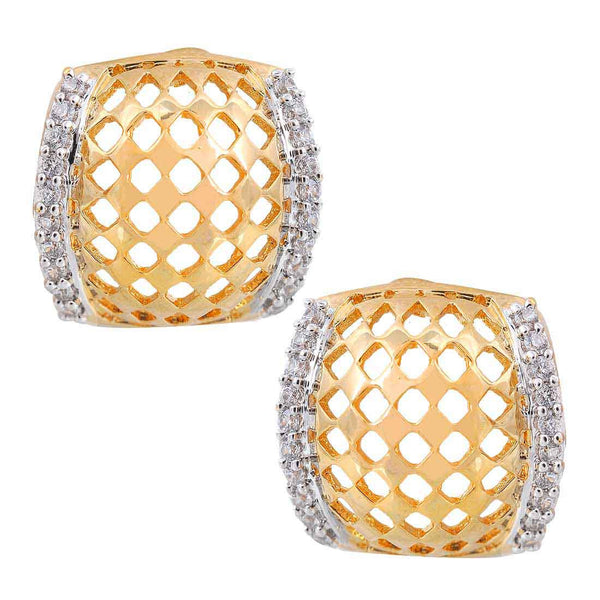 Elegant Gold American Diamond Stud Earrings - MCHUJE1AG4