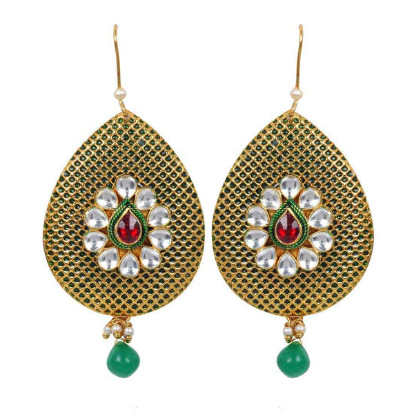 Lovely Green Gold Kundan Dangler Earrings - MCHUJE1AG11