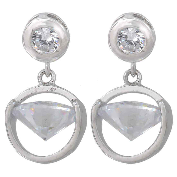 Charming Silver American Diamond Drop Earrings - MCHUJE1AG116