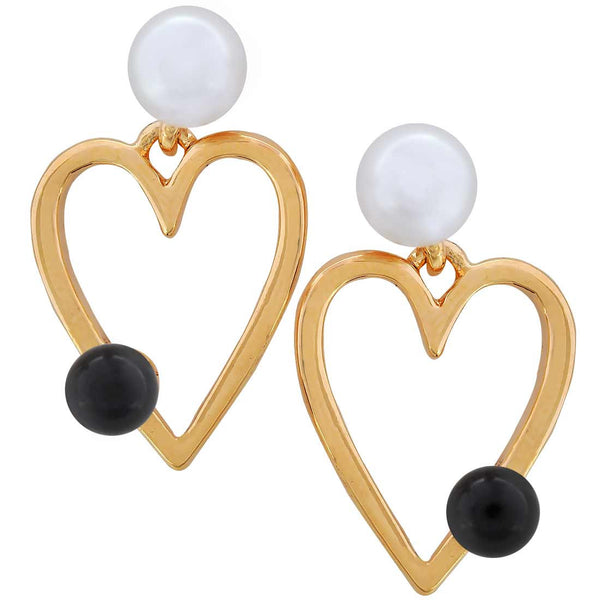 Chic Black White Pearl Drop Earrings - MCHUJE20AG7