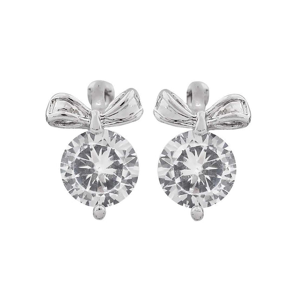 Stylish Silver American Diamond Stud Earrings - MCHUJE20AG20