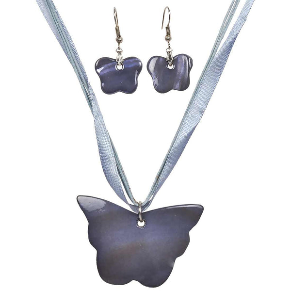 Classy Grey Designer Pendant Set with Earrings - MCHUJP20AG7