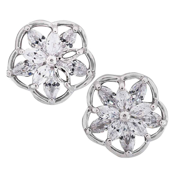Great Silver CZ American Diamond Stud Earrings - MCHUJE11AG46