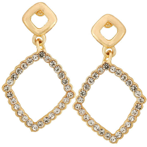 Artistic Gold CZ American Diamond Drop Earrings - MCHUJE11AG48